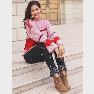 Winter Print Red Pink Pullover Sweater